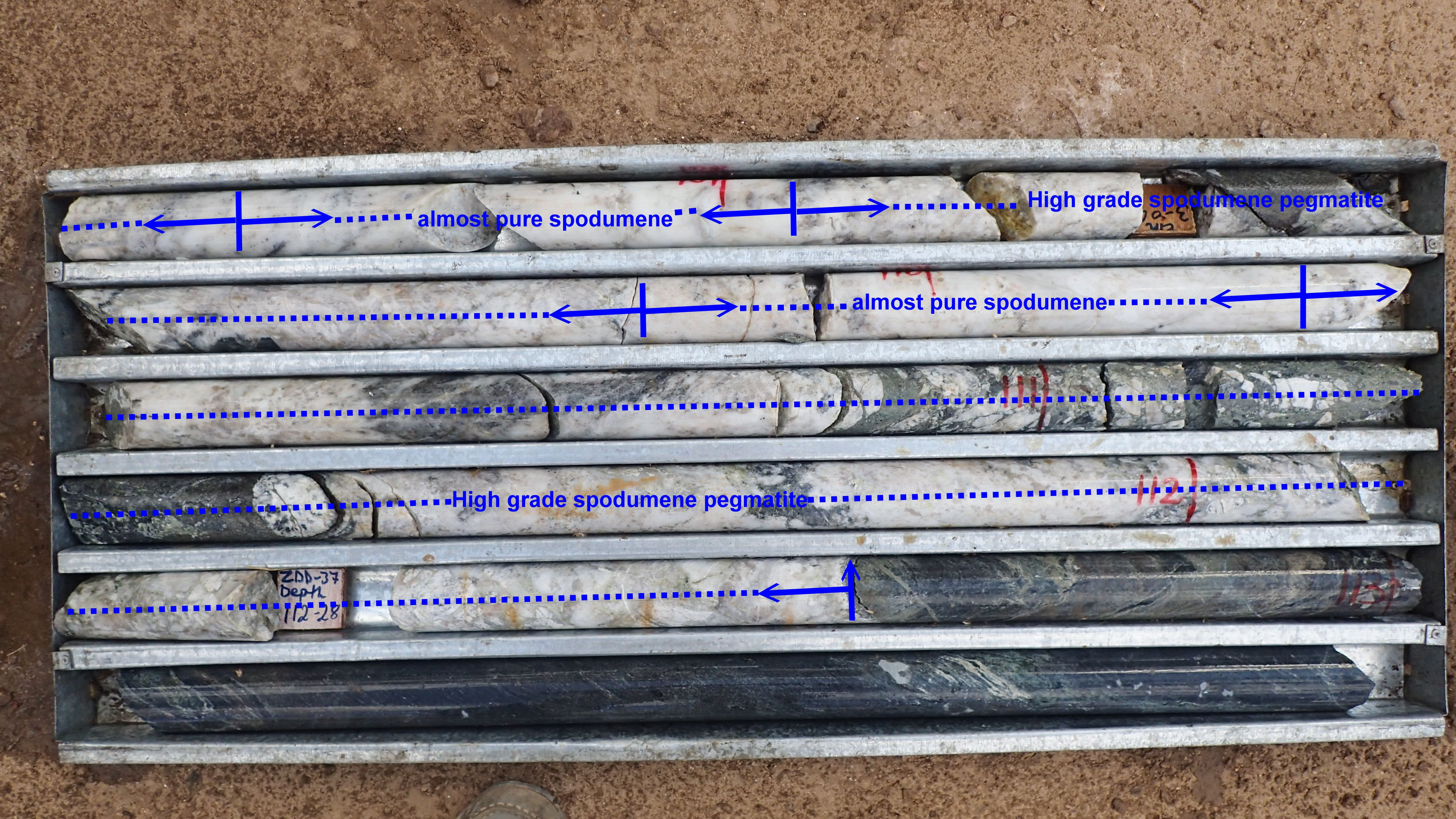 High Grade Spodumene In Drill Hole ZDD 39